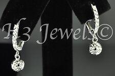 diamond cut ball kids 1.30 grams #262 18k white gold kids hoop earring earrings