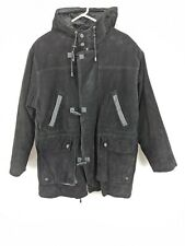 Wilson Leather Hooded Coat Mens Sz Small Black Flannel Lined (hg)