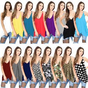 Womens Romper Top Cami Vest Ladies Printed Lagen look V neck Loose Baggy Fit Top