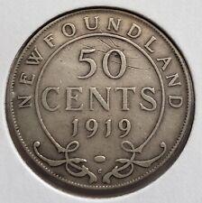 1919 NEWFOUNDLAND SILVER 50 CENT HALF DOLLAR COIN FIFTY CENTS
