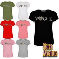 Ladies Short Sleeve Vogue Heart Leopard Print Fitted Casual Basic T-Shirt Tops