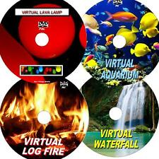 VIRTUAL WATERFALL, LOG FIRE, FISH TANK, & LAVA LAMP, GREAT 4 DVD VIDEO SET NEW