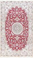 Elegant 260 Knots Floral Wool/Silk Nain Oriental Medallion Handmade Area Rug 5x8