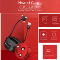 3 in 1 USB Cable Type C Micro Charging Cable Retractable Cable for iPhone Huawei