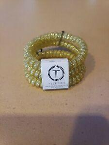 Teleties 3 Pack Small Hair Ties *Cloud 9* Gold Glitter Ponytail Holder