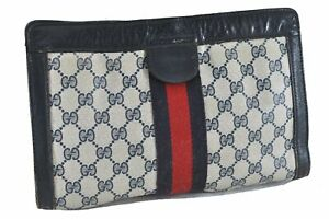 Authentic GUCCI Sherry Line Clutch Bag GG PVC Leather Navy Blue D4748