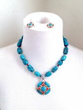 1990 BARSE Turquoise Bead Sterling Silver 925 Pendant Necklace Hook Earrings Set