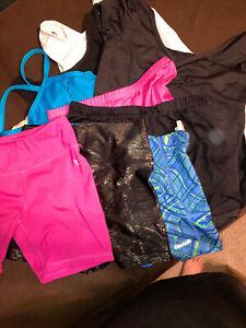 lot of 9 piece gymnastics/dance leotards and shorts