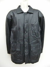 TERRITORY - MENS BLACK LEATHER WARM LINED JACKET / COAT - MED