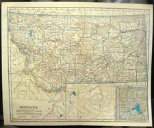 Vtg Map MONTANA + Yellowstone LL Poates Color Atlas 9x11 1925 Eastern MT Towns