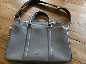 COACH French Navy Leather Laptop Bag