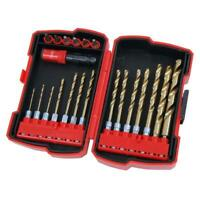 21 Pce Quick Change HEX shank twist drill and bit set - metal wood and plastic