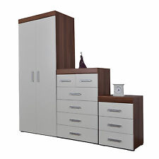 Bedroom 3 Piece Set 4+2 Drawer Chest 3 Drawer Bedside & Wardrobe White & Walnut