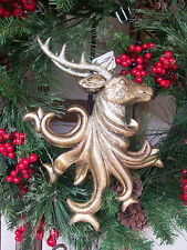 "NWT RAZ Imports Antique Gold Large 11"" Reindeer Deer Head Christmas Ornament #B"