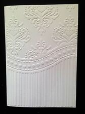 5 Blank A6 White Embossed Cards & Envelopes - Demask and Stripes