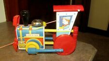 SCARCE VINTAGE 1940-1960 WOOD PULL TOY RAILROAD CATCH UP TRAIN