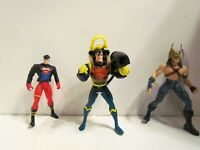 "DC Comics hawkman, Superman, Superboy 4.5"" Action Figure 1995 Kenner Used lot 3"