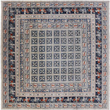10' Square Antiqued Pazyryk Historical Design Hand Knotted Wool Rug - P7886