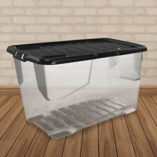 Strata 100 Litre Home Storage Container Plastic Box Black Lid Stackable