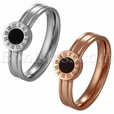 Stainless Steel Charm Roman Numberals Ring Band Size 5-8 For Women's Ladies Gift