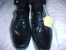 NEW Italy Men's Leather Shoes 10 1/2 W, TASSELS,Vero Cuoio Vera Pelle Fine BLK