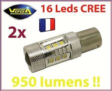 2 AMPOULES 16 LED CREE 80W 950 LM ARRIERE RECUL 1156 P21W BLANCHE