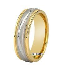 MENS 14K TWO TONE GOLD WEDDING BANDS,7MM MILGRAIN BRUSHED FINISH WEDDING RINGS