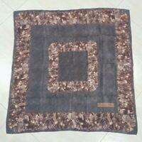 Vintage Scarf CHRISTIAN DIOR 80s Floral Grey Brown 100%silk crepe 78cmx73cm