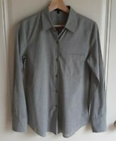 Theory Womens Jet Melange Weylend Icon Button Front Blouse Top Shirt Size Small