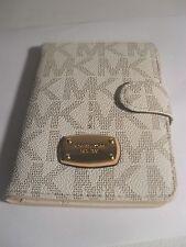 NEW Michael Kors Signature Jet Set PVC Passport Case Holder Vanilla Wallet NWT