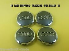 4x Grey Chrome Wheel Center Hub Cap Emblem Badge Logo 69mm For AUDI 4B0601170A