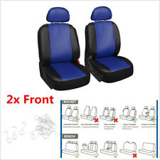 2Pcs Blue PU Car Front Seat Covers High Back Bucket Seat Protector Mat Universal