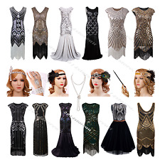 Flapper 1920's Dress Vintage Gatsby Beaded Sequin Dress Fringe 20s Party Costume