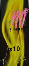 10x Pink Ripper Tsunami Mackerel  Herring Feathers 4 Hook #1 - Bulk 10 Pack