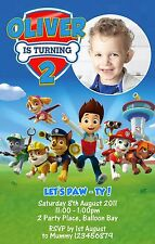 Personalised Paw Patrol Chase Birthday Party Invitations Photo invites FREE GIFT