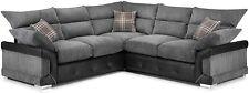 *** BRAND NEW*** Large Black & Grey Logan Corner Sofa CHEAP Comfy 5 Seater