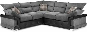*** BRAND NEW*** Large Black & Grey Logan Corner Sofa CHEAP Comfy 5 Seater