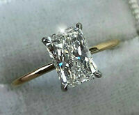 2.71Ct Radiant cut Solitaire Diamond Engagement Ring Solid 14K Yellow Gold