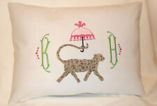 Chinoiserie Cheetah Monogram Pillow-Palm Beach Regency-Handcrafted-New-Free Ship