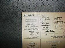 1963 Studebaker SIX Series Lark, Police & Taxi Models 170 CI L6 Tune Up Chart