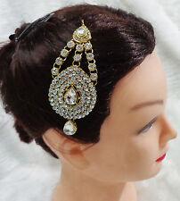 Indian Bridal CZ Passa Jhoomar Ethnic Head Piece Wedding Jewelry Hair Accessory