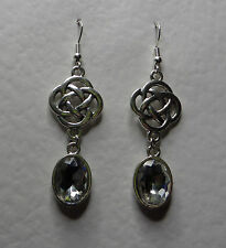 ROUND CELTIC KNOT DARK SILVER PLATED EARRINGS FACETED clear GLASS CRYSTAL OVAL