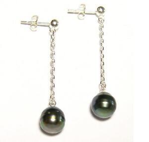 9-10mm Tahitian Black Pearl 925 Silver Dangle Post Earrings