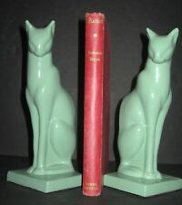 Frankart sitting cat bookends art deco greenie finish metal a pair made in USA