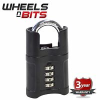 NEW 50mm Black High Quality 4 Digit Combination Padlock Guarded 8Mm Shackle