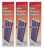 Anti-Mücken-Fackeln 3 x 5 Stk. mit Lavendelduft, Mückenfackeln, Rauchfackeln