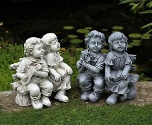 Garden Ornament Boy & Girl Cherub Statue Sitting Decor Ceramic Decoration Large