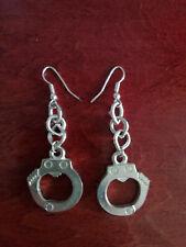 """12263) Cool handcuff earrings silver-tone metal w hook fastenings 2"""" long"""