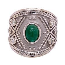 14 Karat White Gold Cabochon Green Emerald Diamond Cigar Band Ring Unisex