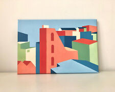 More details for original abstract city landscape painting - acrylic on canvas
